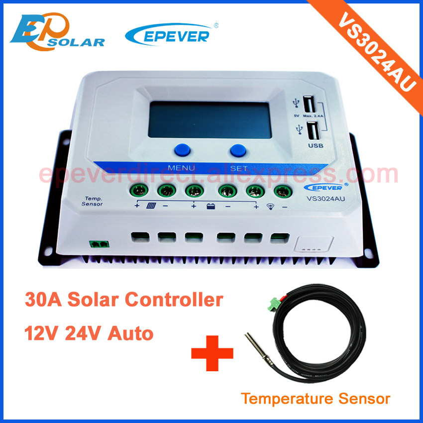 PWM EPsolar Solar battery charger regulator 12v 24v auto type 30A VS3024AU+temperature sensor 20a 12 24v solar regulator with remote meter for duo battery charging