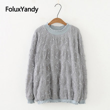Ruffles Lace Hoodies Women Pullovers Warm Thick Casual Long Sleeve Round Neck Loose Plus Size Sweatshirt Gray White SWM1263 все цены