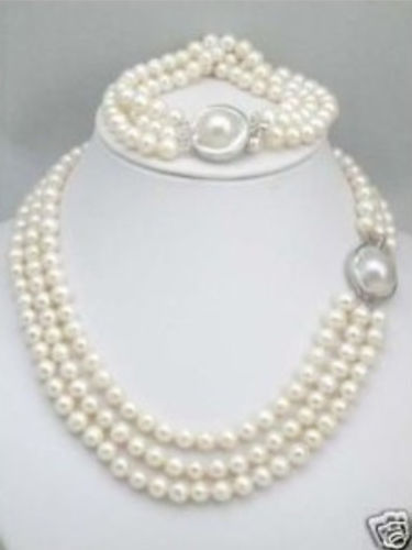 Selling REAL PEARL BEAUTIFUL!LONG Charming White Real Natural Pearl & Pearl Clasp Necklace & Brac charming rose quartz pearl necklace 44cm length