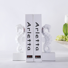 White Seahorse Bookends