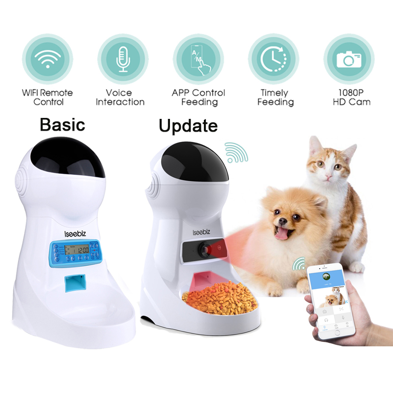 Iseebiz Update 3L Pet Feeder Wifi Remote Control Fashion Smart Automatic Pet Feeder Dogs Cat Food Rechargable With Video Monitor image