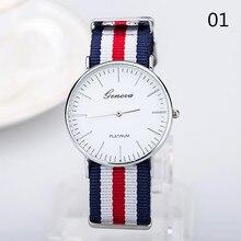 2016 Unisex Watch Men Women  Wristwatch  Watch Nylon Fabric Canvas Casual Watch Super Thin Geneva gift Watch Military Dw Clock