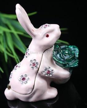 Rabbit Trinkets Pewter Rhinestone Rabbit Metal Jewelry Box Lovely Animal Style Rabbit Shape Jeweled Trinket Box Gift Jewelry Box