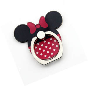 2018 New Arrival 1 Piece High Quality Metal Finger Ring Holder Cute Cartoon Mickey Minnie With Bow Tie Phone Holder Ring Support
