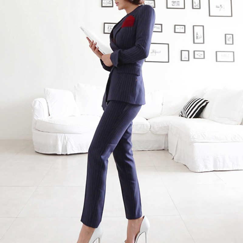 23c134619d ... MODA NOVA 2018 Otoño e Invierno chaqueta Blazer a rayas traje de las  mujeres de negocios ...