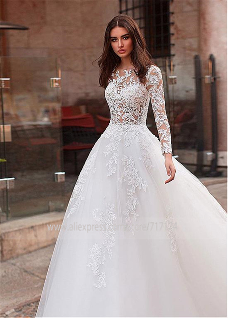 Attractive Tulle Jewel Neckline See-through Bodice A-line Wedding Dress With Lace Appliques & Beadings Long Sleeves Bridal Dress 2