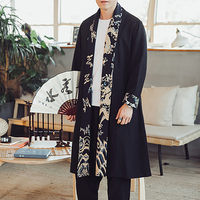 Black Navy 2019 Chinese Style Jacke Stitching Large Size Long Windbreaker Jacket National Retro Dress Veste Homme 70b0656