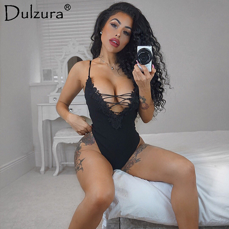 Dulzura lace up sleeveless women sexy bodysuits 2018 spring summer female backless camis body