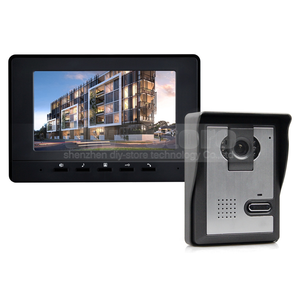 DIYKIT 7inch Video Intercom Video Door Phone Doorbell 1 Camera 1 Monitor for Home / Office Security System Black