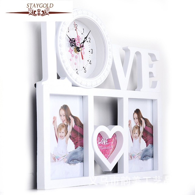 Wedding Photo Frame Love Picture Frame Home Decor Wall Clock White ...