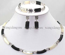 Natural Black White Jade Link Necklace Bracelet earrings Set AAA 18K gold plated watch Quartz stone crystal (A0424)