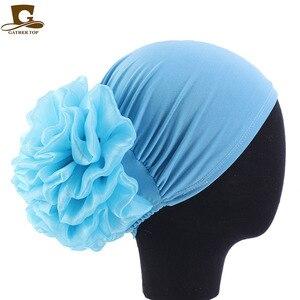 Image 3 - Новинка, Женский тюрбан с большими цветами, шапка, мусульманский головной платок, головной убор с наполнителем, женская мягкая женская шапка, Мусульманский Стиль