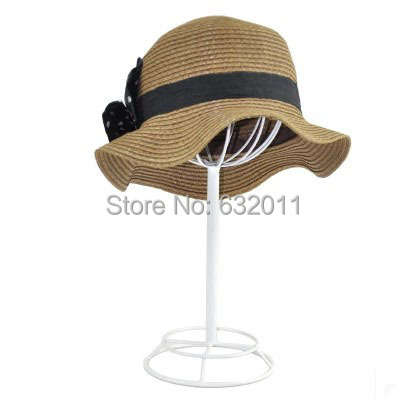 Black white creative boutique Hat display showing stand hat wig holder display rack cap keeper shelf rack stand hat holder rack