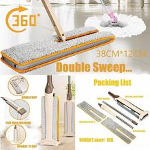 Best price Double Sided Non Hand Washing Flat Mop Wooden Floor Mop Dust Push Mop Home Cleaning Tools 9 7