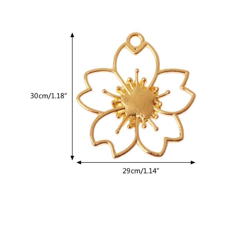5 pièces De Fleurs De Cerisier Blanc Cadres De Résine Pendentif Serti de Fabrication De Bijoux En Résine - 6