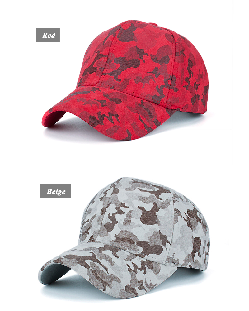 Faux Leather Camo Baseball Cap - Red Cap and Beige Cap Options