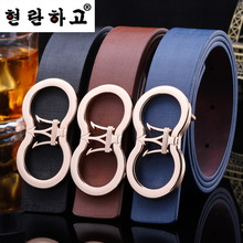 Hot 2016 New Mens Korean Smooth button casual trousers belt Lady PU leather Business belt Men luxury Designer fashion belt women