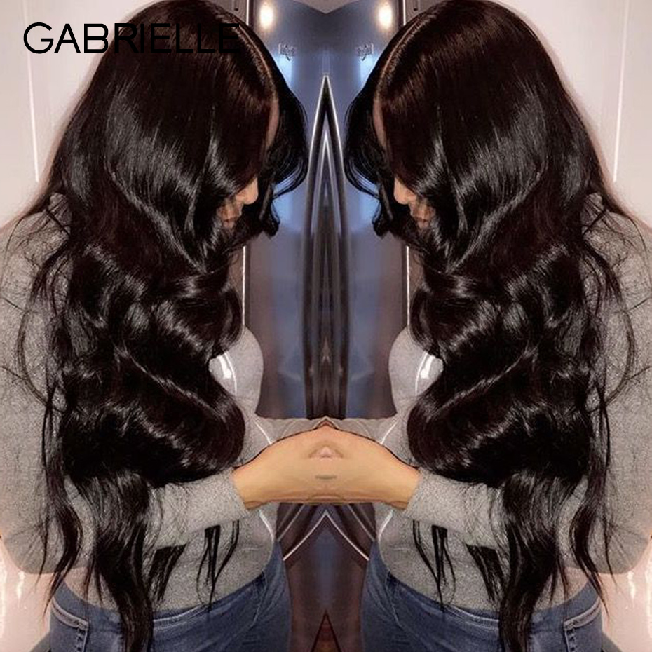 Gabrielle Human Hair Weave Body Wave Bundles With 360 Lace Frontal 130 density Natural Black Non
