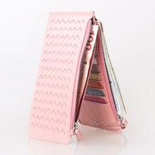 New style Card Holder Women Wallets Long Weave zipper Hasp Sheepskin mini Ultrathin card sleeve Card Holder Lady Purse