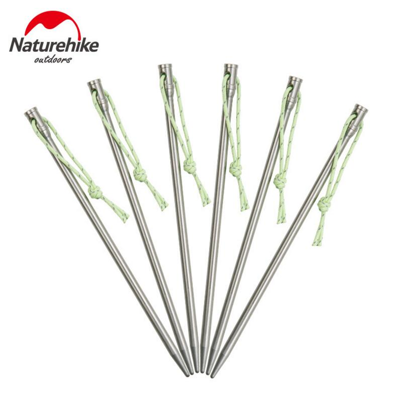 Naturehike Camping Tent Accessories Titanium Alloy Tent Pegs Camping Hiking Equipment Tents Hook Outdoor Tent Nail 6PCS\LOT