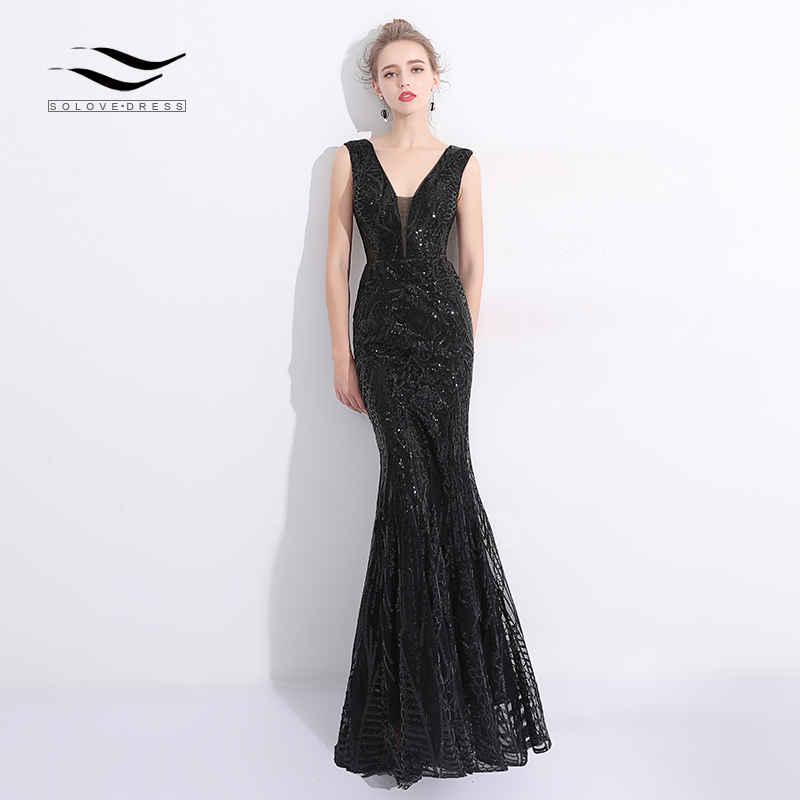 Solovedress 2018 Fabric Sexy V neck Sequin Long Evening Dress Mermaid Black women's Evening Gown vestido de fiesta SLD-SLP9001