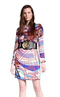 2014 Spring Fashion Elegant Print Brief British Style Elastic Knitted One Piece Dress Female