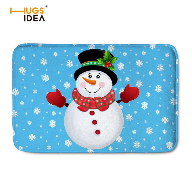 HUGSIDEA Merry Christmas 3D Print Carpets For Living Room Anti-slip Modern Area Rugs Santa Claus Design Mats Decor Home Doormat