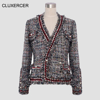 Твидовая Женская куртка высокого качества, твид, Вязанная, окаймленная жемчугом, на пуговицах, Маленькая женская короткая куртка с v образны