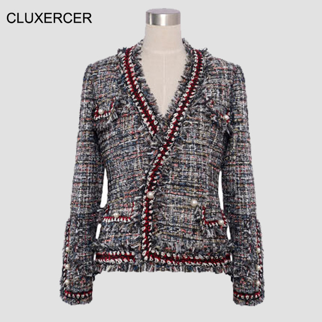5df39e95362cc Tweed jacket women high quality tweed fabric knitted bordered pearl button  small female v-neck short jacket