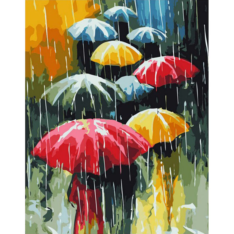 Frameless Umbrella DIY Painting By Numbers Abstrak Wall Art Modern Canvas Painting Hadiah Unik Untuk Hiasan Rumah 40x50cm