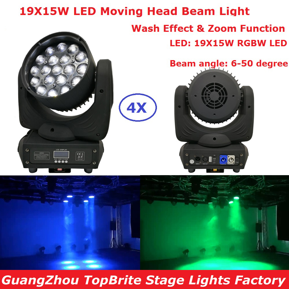 4Pack Newest RGBW 4IN1 19X15W Zoom LED Moving Head Wash Beam Lights Stage Effect DJ DMX Disco Luces Discoteca Strobe Party Light niugul dmx stage light mini 10w led spot moving head light led patterns lamp dj disco lighting 10w led gobo lights chandelier