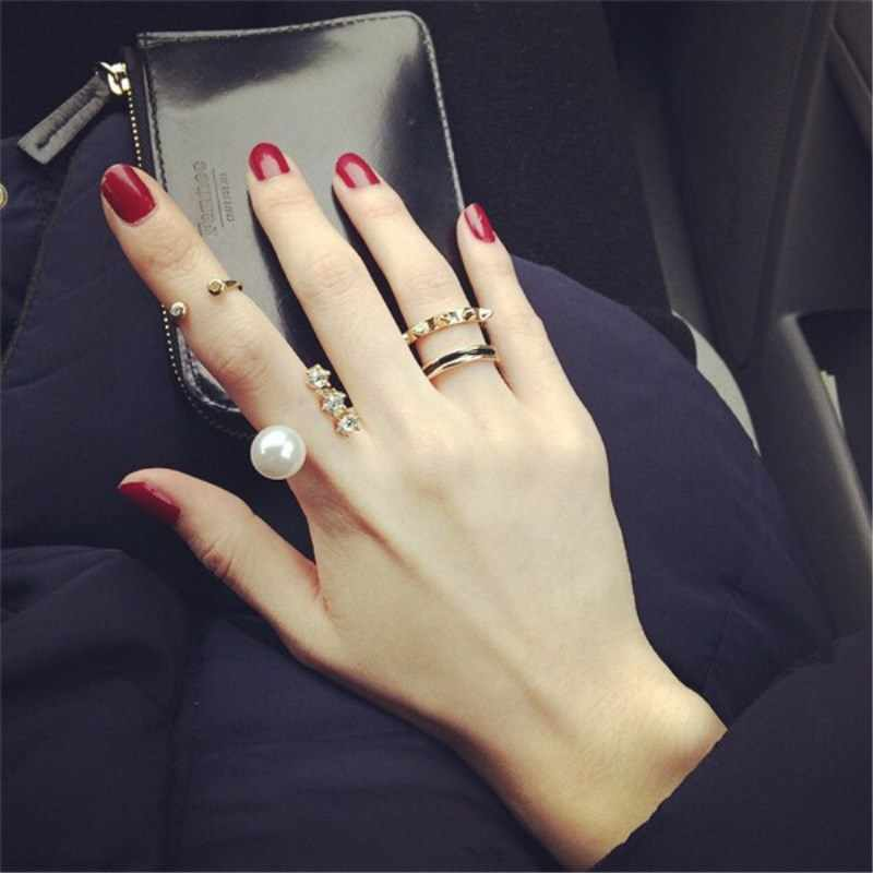 3 pcs/set Personalized rivets ring, Artificial imitation pearl index finger opening female ring 8CRD81