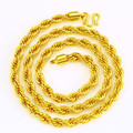 7MM Thick Twisted Chain Necklace  Solid Yellow Gold Plated Real Men's Classic Necklace Jewelry Gift