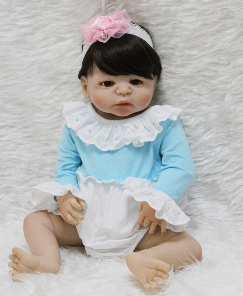 22inch Lifelike Silicone Reborn Baby Menina Alive adorable face can enter water dolls bebe Infant Clothes Truly Kids Playmates22inch Lifelike Silicone Reborn Baby Menina Alive adorable face can enter water dolls bebe Infant Clothes Truly Kids Playmates