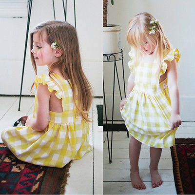 Pudcoco Cute Toddler Kids Baby Girl Dress Princess Party Dresses Summer Plaid Ruffles Sundress 1-6Y cute newborn toddler kids baby girl summer dress sleeveless princess tutu ruffles romper one pieces floral sundress clothes