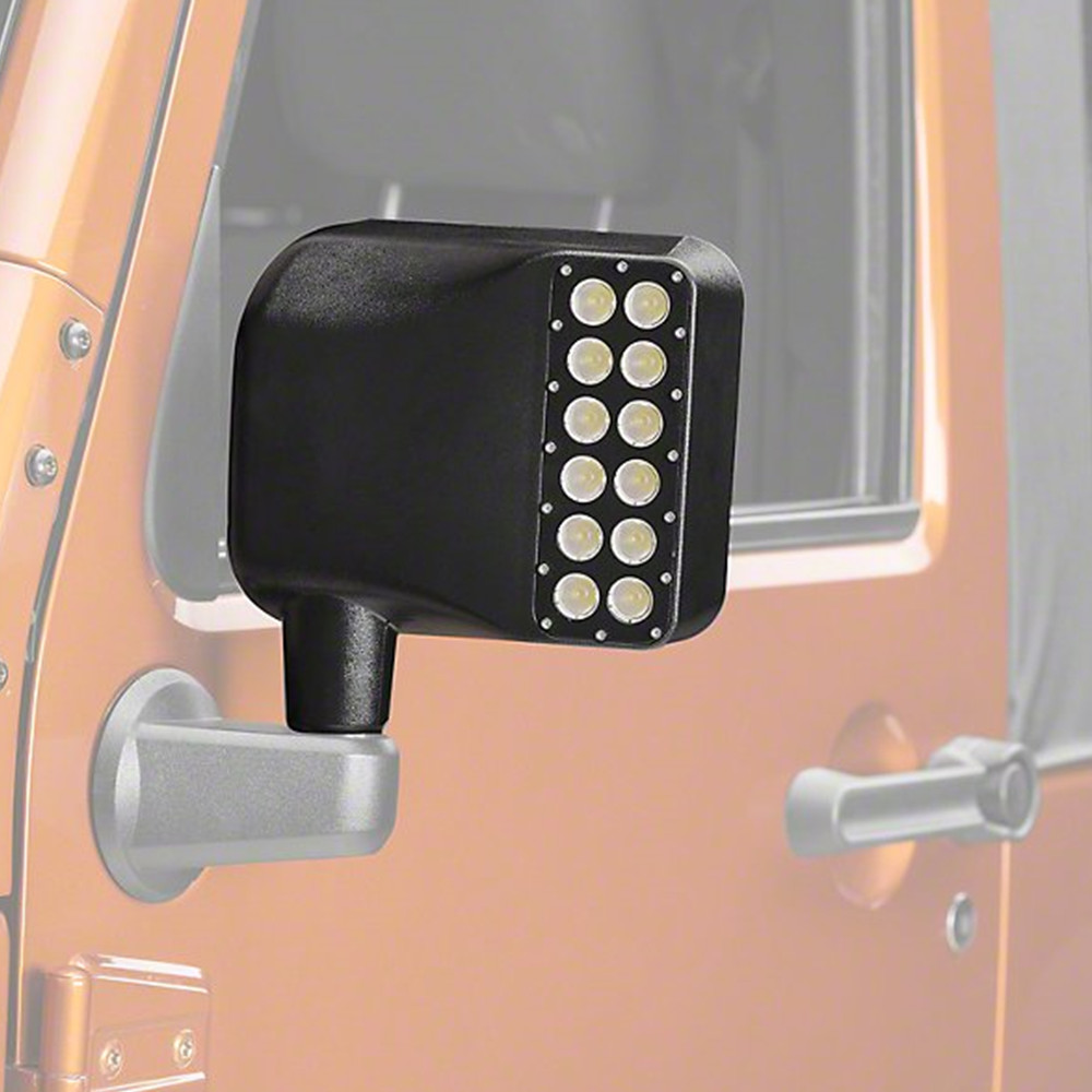 For Jeep Wrangler Side Mirror Housing with Turn Signal Lights + Bonus Switch