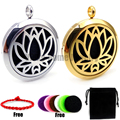 Round Silver Lotus (30mm) Essential Oils Diffuser Locket Aroma Jewelry  with Pads