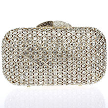 DC1989 Luxury Rhinestones Bridal Wedding Clutches Zinc Alloy Top Quality Clear White Crystals Imitation Gold Plating 50 CM Chain