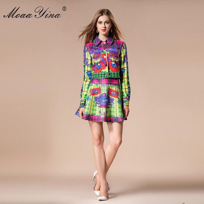 MoaaYina 2018 Fashion Designer Set Autumn Women Turn-down Collar Plaid Floral Print loveliness Elegant Tops+Sexy Mini Skirt Suit