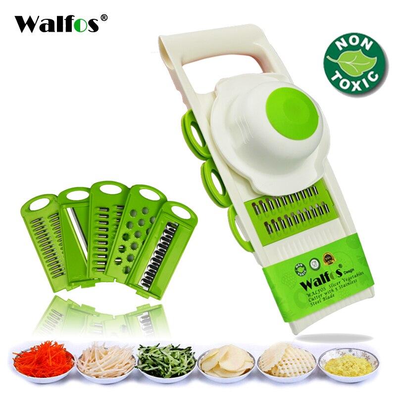 WALFOS Mandoline pelador rallador cortador de verduras herramientas con 5 hojas rallador de zanahoria cebolla rebanador de verduras accesorios de cocina