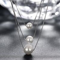 2017 классический ожерелье 100% 925 серебро три жемчужное ожерелье Женские украшения мода красота svn103