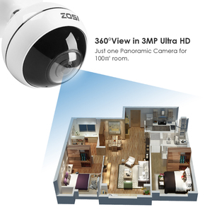 Image 5 - ZOSI Wireless IP Camera WiFi Panoramic Fisheye Video Surveillance Camera 3MP Ultra HD 360 Full Degree View Angel VR CCTV Camera