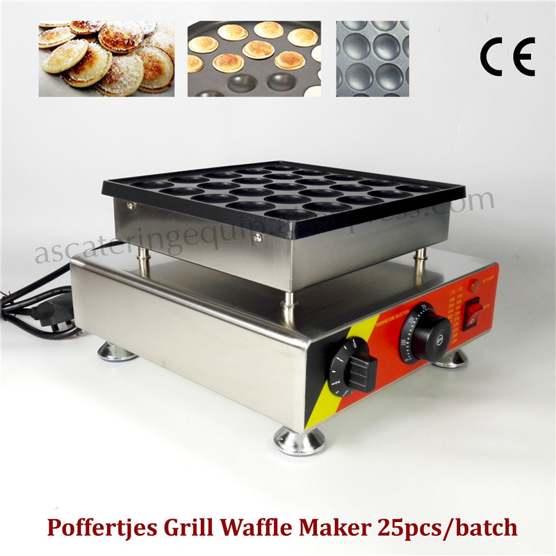 Stainless Steel Nonstick Poffertjes-Grill 25 pcs Netherlandish Mini Pancake Maker Waffle Baker Brand New double pans small pancake machine poffertjes machine with non stick pan poffertjes grill waffle maker with 50 pcs moulds