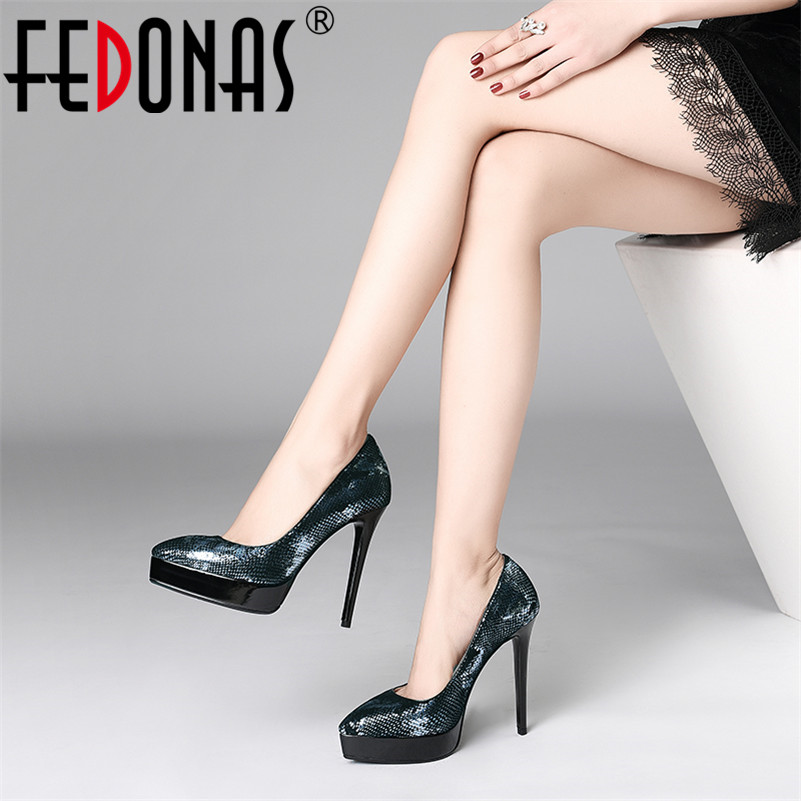 FEDONAS 2019 Sexy Ultra High Heels Party Wedding Shoes Woman Platfomrs Genuine Leather Slip On Prom Dancing Shoes Woman Pumps FEDONAS 2019 Sexy Ultra High Heels Party Wedding Shoes Woman Platfomrs Genuine Leather Slip On Prom Dancing Shoes Woman Pumps
