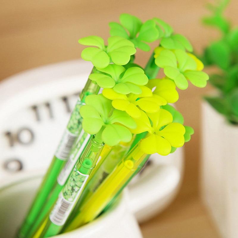0.5mm Cute Kawaii Plastic Gel Pen Lovely Clover Marker Pens For Kids Korean Stationery School Materials Student 3601