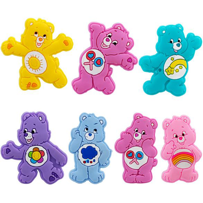 10 Pcs/lot Adorable Cartoon DIY PVC Patch Care Bears Figurine Crafts Phone Case Storage Box Accessories Kids Craft Toy