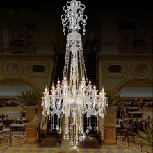 hot deal buy luxury large chandelier lighting deluxe staircase  long chandelier hotel villa crystal chandelier modern led candle crystal lamp