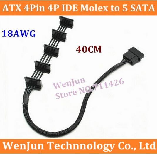 15.7inch PC DIY ATX 4Pin 4P IDE Molex to 5 SATA Serial ATA Power Supply Cable Co