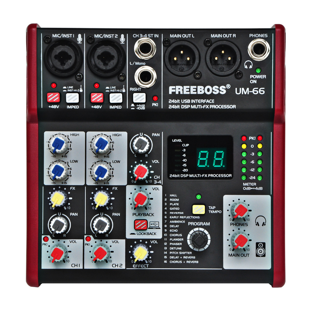 Freeboss Um-66 four Channels 16 Digital Results 24 Bit Dsp Processor Sound Card (Corridor Room Plate Delay Echo) Document Audio Mixer