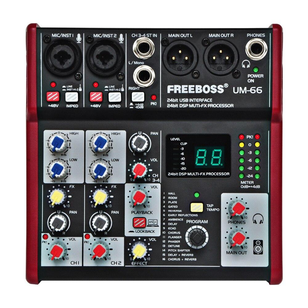 Freeboss UM-66 4 canaux 16 effets numériques 24 bits Dsp processeur carte son (Hall Room plaque retard écho) enregistrement Audio table de mixage